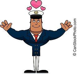capitaine, étreinte, dessin animé, bateau