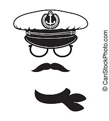 capitaine, casquette, moustache, écharpe