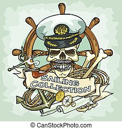 capitaine, crâne, logo, conception, -, voile, collection