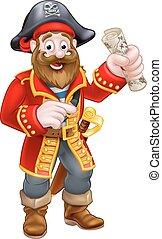 capitaine, dessin animé, pirate