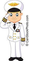 capitaine, dessin animé, respectueux
