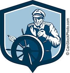 capitaine, pêcheur, bouclier, mer, retro