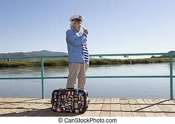 capitaine, touriste, voyage