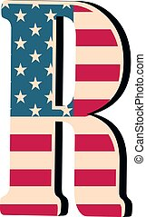 Capital 3d letter R with american flag texture isolated on white background. Vector illustration. Element for design. Kids alphabet.