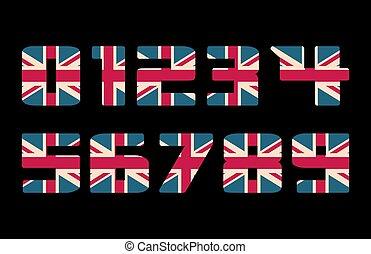 capital, 3d, números, con, reino unido, bandera, textura, aislado, en, negro, fondo., vector, illustration., elemento, para, design., niños, alphabet.
