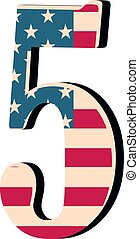 Capital 3d number five with american flag texture isolated on white background. Vector illustration. Element for design. Kids alphabet.