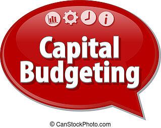 Capital Budgeting Business term speech bubble illustration -...