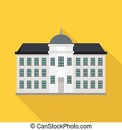 Capital building icon, flat style