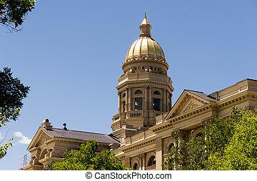 capital, capitole, législatif, en ville, bâtiment, wyoming, centre ville, cheyenne