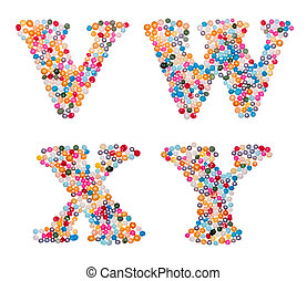 Capital characters made of colorful sprinkles