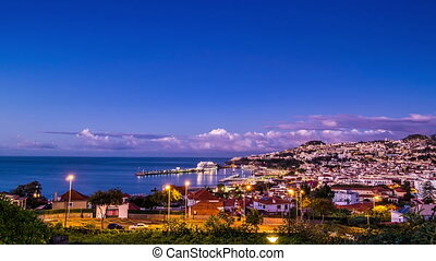 Capital city of Madeira - Funchal - Waking up capital city...