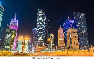 capital, doha, céntrico, qatar, edificios