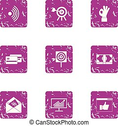Capital expenditure icons set, grunge style - Capital...