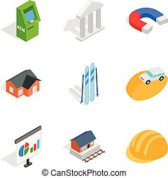 Capital expenditure icons set, isometric style