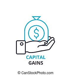 capital gains concept , outline icon, linear sign, thin line pictogram, logo, flat illustration, vector