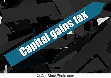 Capital gains tax word on the blue arrow