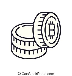 Capital in bitcoins black icon concept. Capital in bitcoins flat vector symbol, sign, illustration.