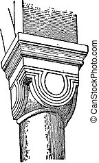 Capital in the church of Neuwiller, vintage engraving.
