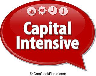 Capital Intensive Business term speech bubble illustration...