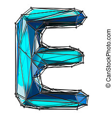 Capital latin letter E in low poly style blue color isolated on white background