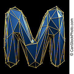 Capital latin letter M in low poly style blue and gold color isolated on black background. 3d