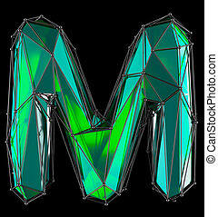 Capital latin letter M in low poly style green color isolated on black background
