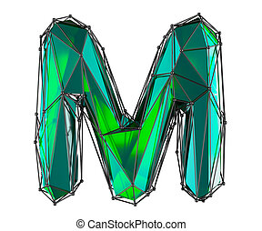 Capital latin letter M in low poly style green color isolated on white background