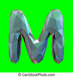 Capital latin letter M in low poly style isolated on green background