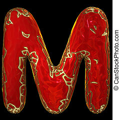 Capital latin letter M in low poly style red color isolated on black background