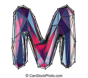 Capital latin letter M in low poly style red color isolated on white background