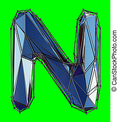 Capital latin letter N in low poly style blue color isolated on green background