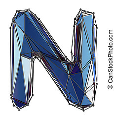Capital latin letter N in low poly style blue color isolated on white background
