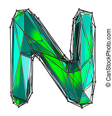 Capital latin letter N in low poly style green color isolated on white background