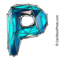 Capital latin letter P in low poly style blue color isolated on white background