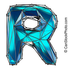 Capital latin letter R in low poly style blue color isolated on white background