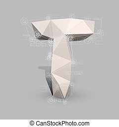 Capital latin letter T in low poly style.