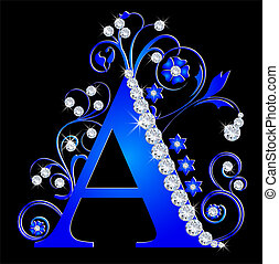 capital letter A blue