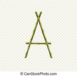 Capital letter A made of green bamboo sticks on transparent background.