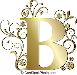capital letter B gold
