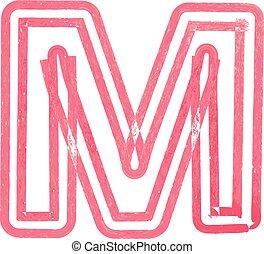 Capital letter M drawing with Red Marker