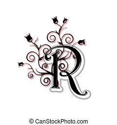 Capital letter R - Black capital letter with flowers and...