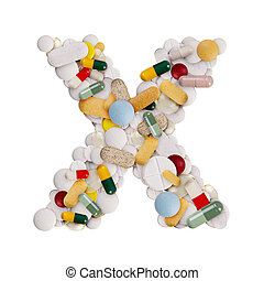 Capital letter X made of various colorful pills, capsules and tablets on isolated white background