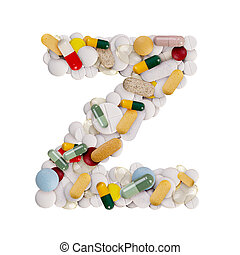 Capital letter Z made of various colorful pills, capsules and tablets on isolated white background
