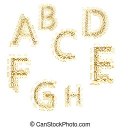 Capital letters alphabet in form pattern of hearts