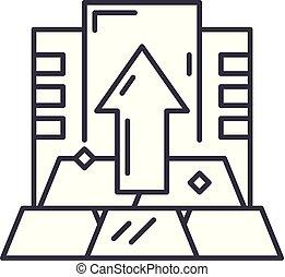 Capital line icon concept. Capital vector linear illustration, symbol, sign