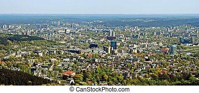 capital, lituania, vista, aéreo, ciudad, vilnius