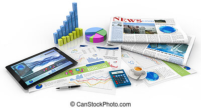 capital management concept - graphs, tablet and newspaper on...