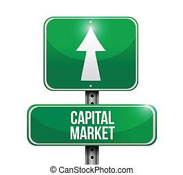 capital, marché, panneaux signalisations, illustrations