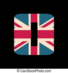 capital, número cero, con, reino unido, bandera, textura, aislado, en, negro, fondo., vector, illustration., elemento, para, design., niños, alphabet.