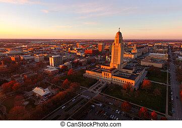 capital, nebraska, encima, edificio, conjuntos, estado, sol, lincoln